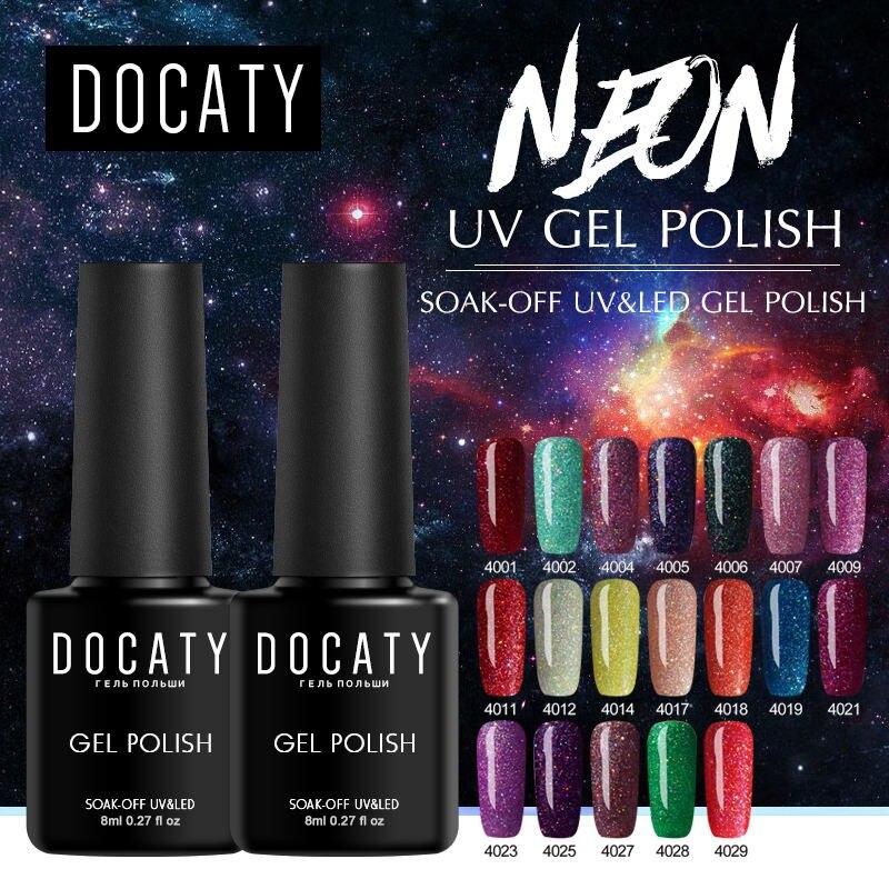 Docaty Nail Art Gel 8ML Neon Bling Glitter Semi Permanent Gel Polish Soak Off Gel Nail Polish Varnish Lacquer Gellac Gel Polish