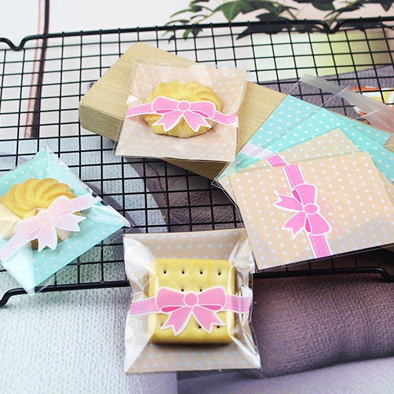 50 pçs bonito rosa borboleta biscoito doces auto adesivo saco festa de aniversário do casamento presente saco de cozimento embalagem biscoito plástico bages
