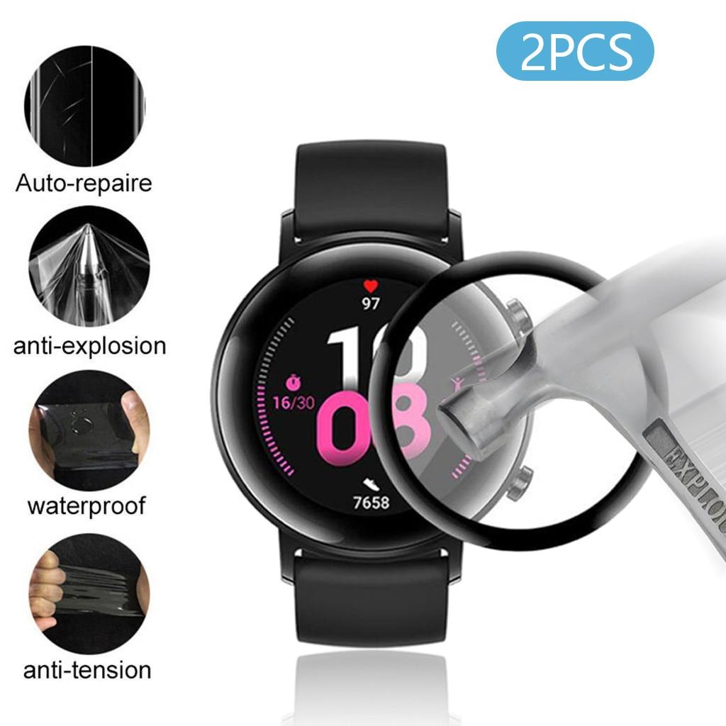 Protector de pantalla PET 2 uds para Huawei GT 2 reloj huaway huavey GT2 película protectora 3D curvada cubierta completa sin burbujas Anti-rasguño