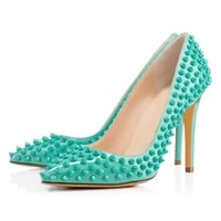 womens pumps new rivet pointed high heel sandals women shoes stiletto heels patent leather green party shoe summer sandals