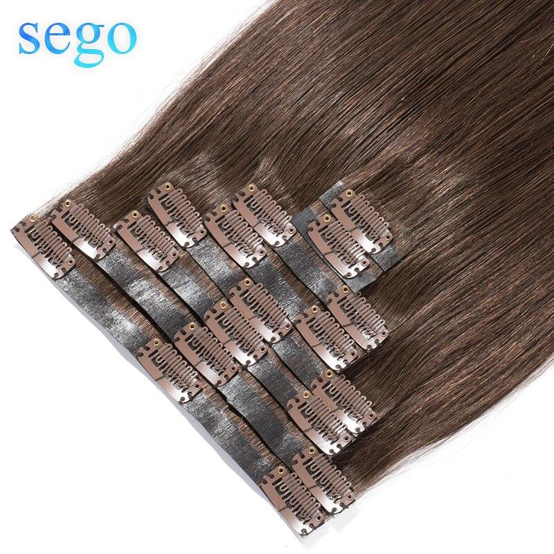 """SEGO 22 """"90g-110g 100% pinza de pelo Real en extensión de cabello humano cinta de PU sin costura en pinza en Manchine Remy pelo brasileño 8 unids/set"""