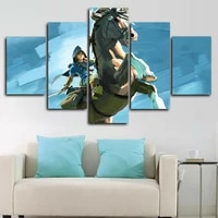 anime game characters horse 5 panel canvas picture print wall art canvas painting wall decor for living room poster no framed