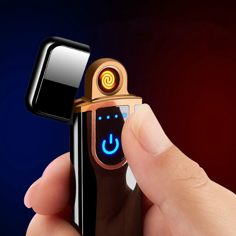 2021 Usb Recharge Sense Touch Electric Arc Cigar Cigarette Display Power Smoking Lighter