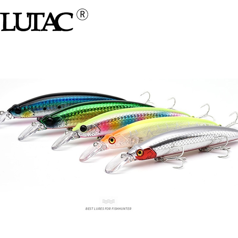 LUTAC minnow floating GM01A 110mm 21g hard plastic baits fishing lures origin treble hooks artificial bait good quality