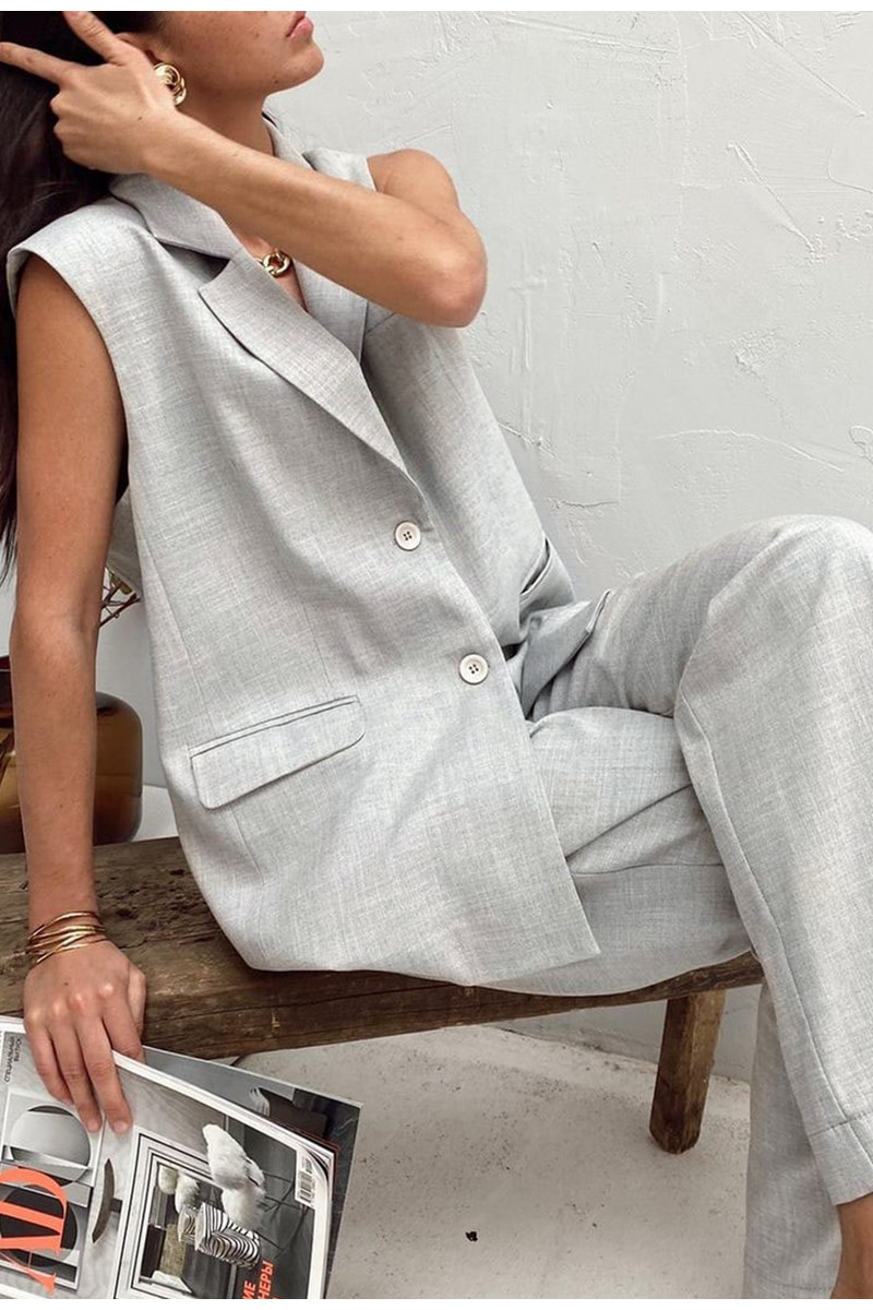 BerryGo Gray sleeveless woman suits Summer casual loose suit Chic suit collar woman sets Sleeveless top high waist pants suit