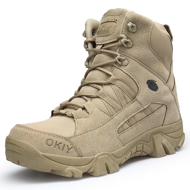 التكتيكية أحذية الرجال قماش شبكة الصحراء عالية أعلى حذاء عسكري في الهواء الطلق تسلق الجبال أحذية الرجال