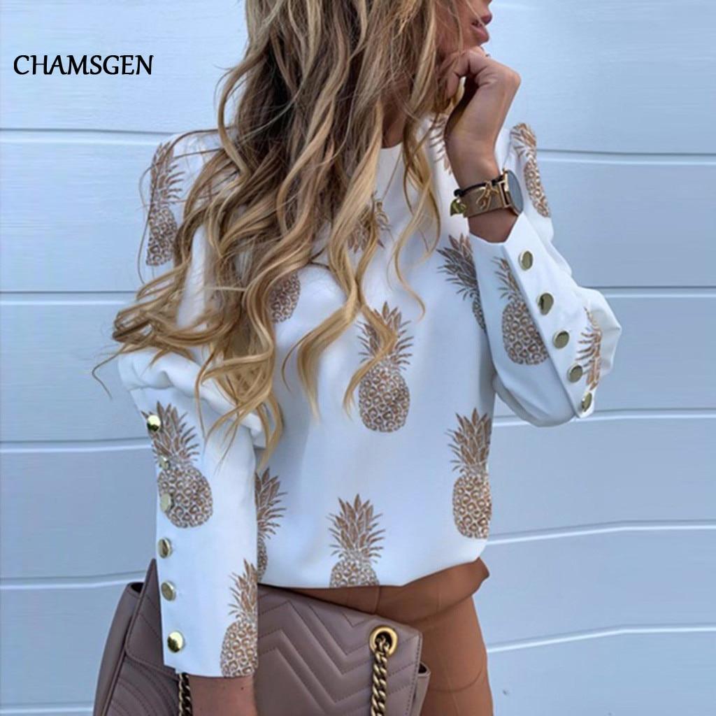 Chamsgend abacaxi carta blusa camisa feminina botão traseiro manga longa blusas das mulheres topos e blusa manga f610 feminino