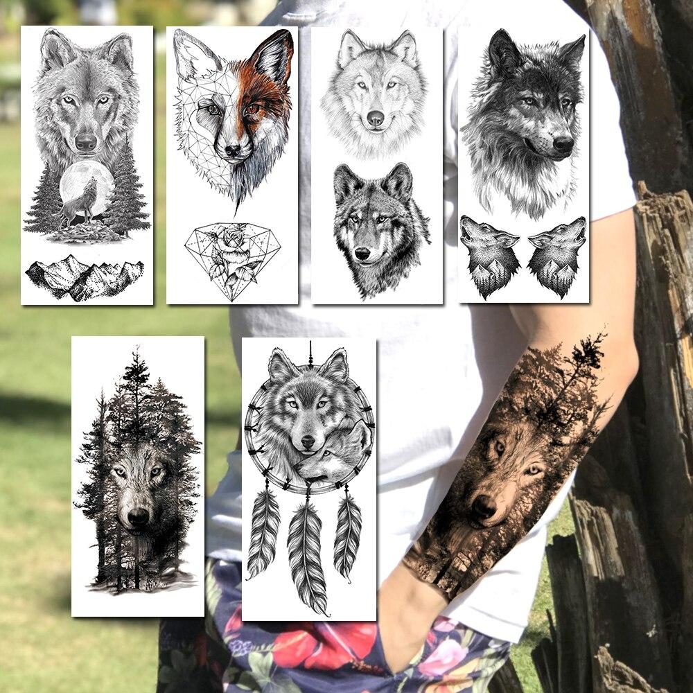 Las czarny wilk tatuaże naklejki dla mężczyzn kobiety realistyczne fałszywe tatuaże do ciała tymczasowe tatuaże wodoodporne Dreamcatcher tatuaże naklejka