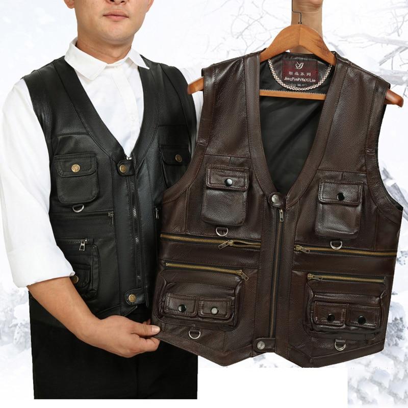 Cowhide Genuine Leather Vest Men Brown Waistcoat Male Sleeveless Jacket Thick Motorcycle plus size Multi Pocket Zipper Coats