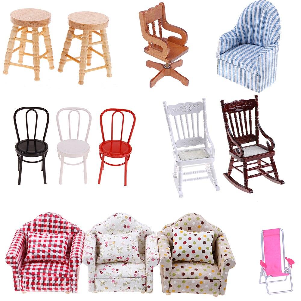 Simulation Mini Sofa Stool Chair Furniture Model Toys for Doll House Decoration 1/12 Dollhouse Miniature Accessories недорого