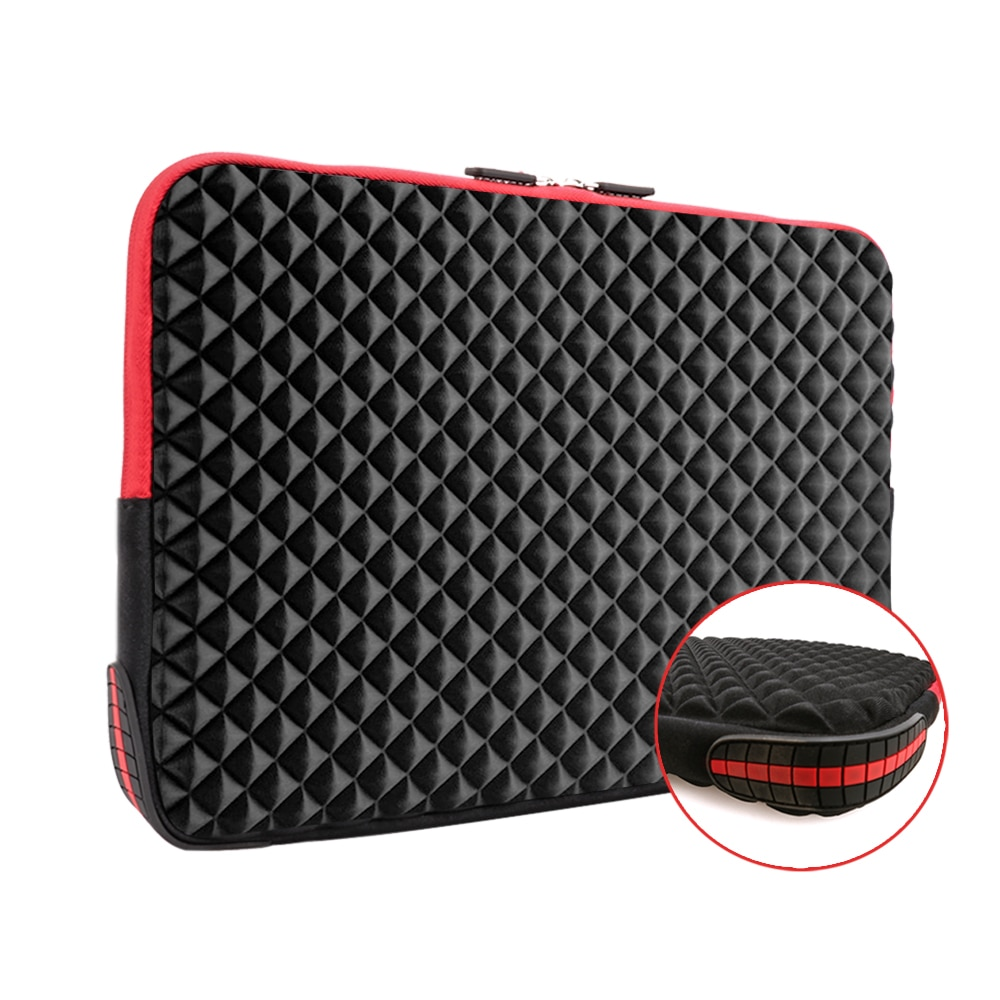 iCozzier 13.3/15.6 Inch Diamond Foam Laptop Sleeve with Coner Silicone Pad Shock Carrying Cover Briefcase for MacBook Air/Pro