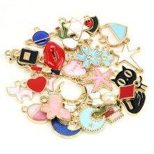 30pcs Colorful Seastar Hexagon Moon Cat Flower Bowknot Enamel Charms DIY Bracelet Necklace Jewelry Accessory DIY Craft