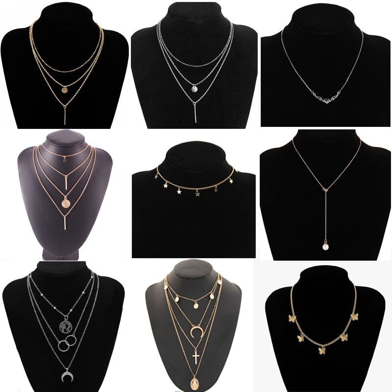 fashion vintage black eclipse necklace women long chain celestial moon crescent pendant necklace jewelry accessories party dress Vintage Multilayer Butterfly Pendant Necklaces For Women Fashion Moon Star Charm Gold Choker Necklace Bohemian Jewelry Party