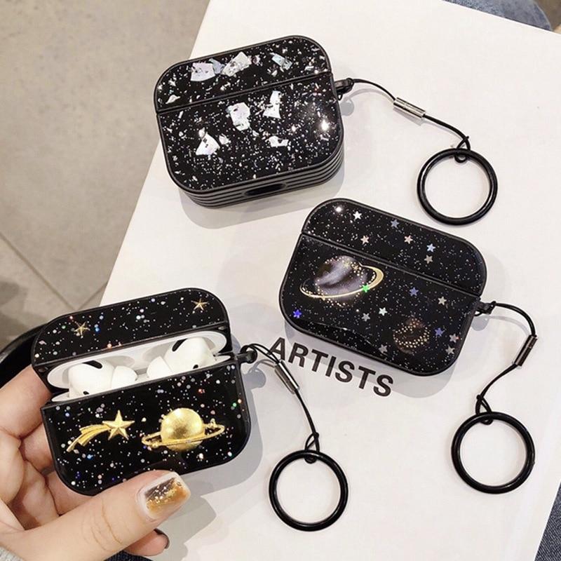 Funda dura negra para auriculares para cápsulas de aire Pro3 moda Explore Star Moon espacio astronauta Dream Air Pods funda cubierta