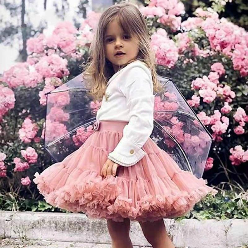 1-10Y Girls Tutu Skirt Ballerina Pettiskirt Layer Fluffy Children Ballet Skirts For Party Dance Prin