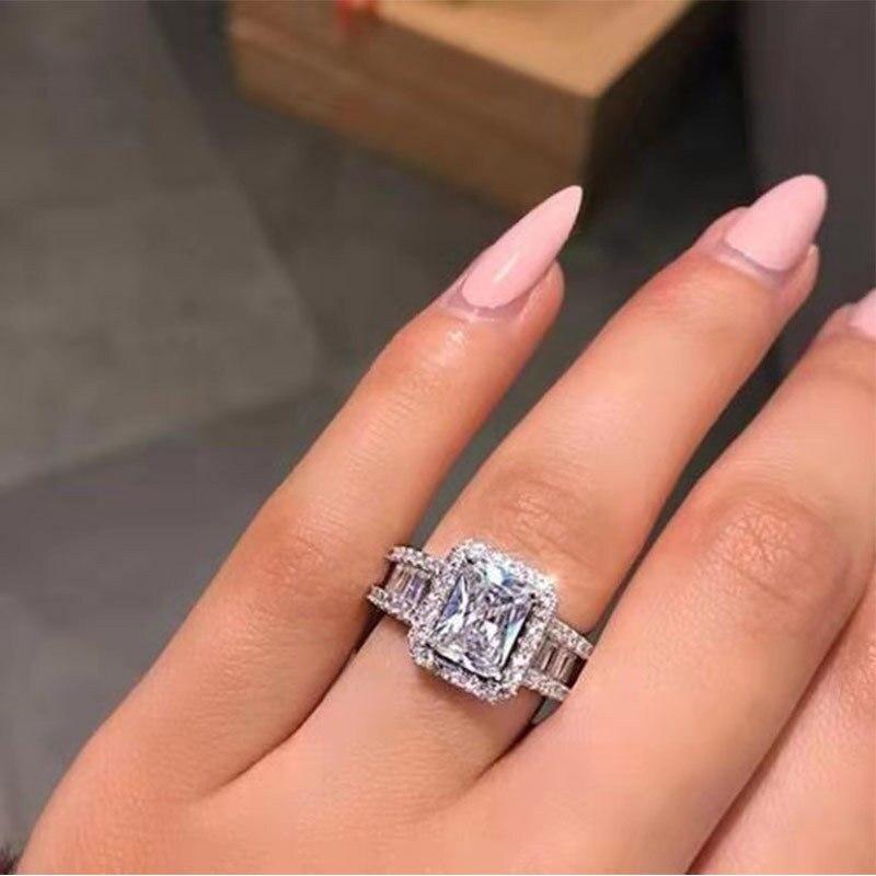 Novo zircão cúbico feminino cristal capina anéis anel de promessa quadrada para presente de aniversário feminino