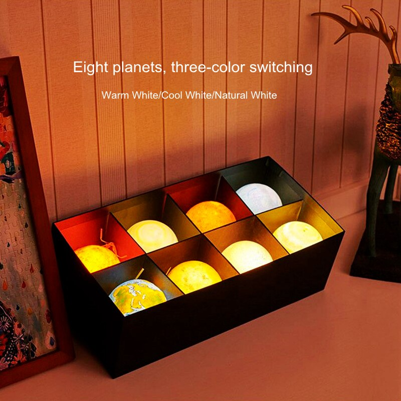 Creative Rechargeable 3D Print Eight Planets Lamp Night Light Touch Pat Moon Light With 3Colors Home Decor Romantic Gift enlarge