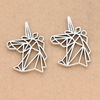 10pcs antique silver plated hollow unicorn charm pendant for bracelet necklace jewelry diy making accessories 29x21mm