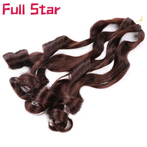 """Full Star 22"""" Loose Wave Synthetic Hair Black BlondePre Stretched Ombre Braiding Hair Extension  Spiral Curl Crochet Braids Hair"""