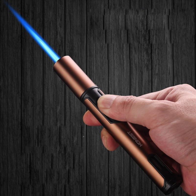 In Stock Metal Torch Gas Lighters windproof Lighter  Lighters Spray Gun Portable Jet Lighter Kitchen Outdoor Blue Flame недорого