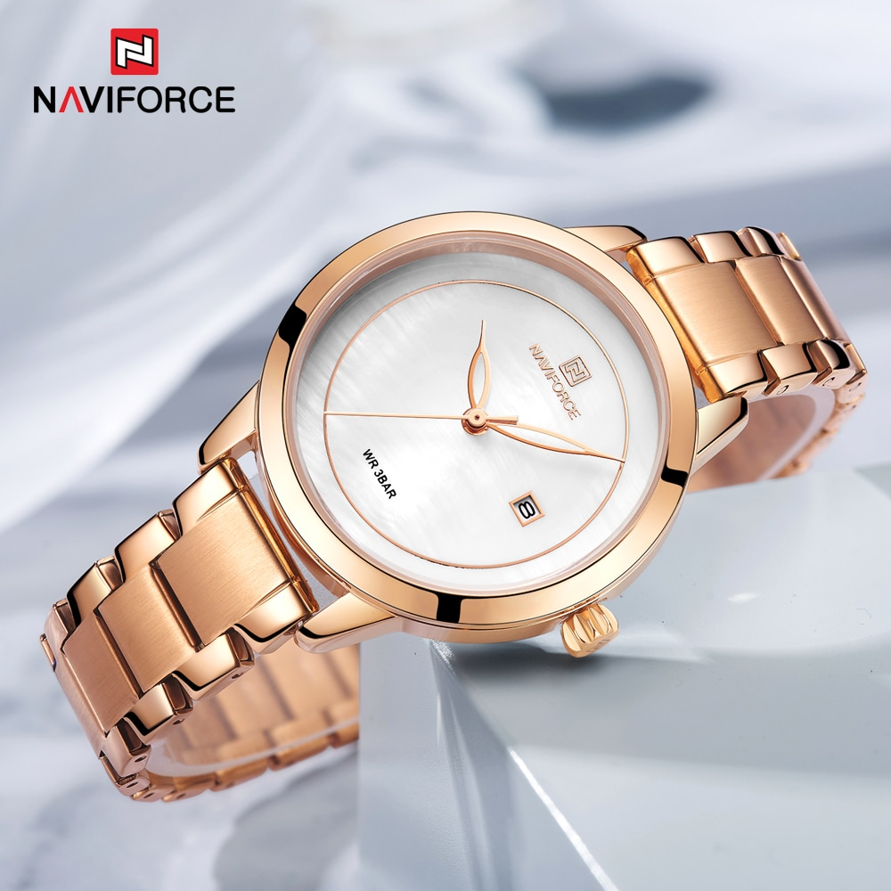 Rose Gold Watches For Women Quartz Wristwatches Ladies Top Brand NAVIFORCE 5008 Relogio Feminino Female Bracelet Clock Watch enlarge