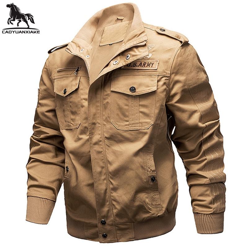 Мужская куртка весна-осень, новинка, мужские куртки со множеством карманов, сращивающиеся Мытые куртки-бомберы, мужская повседневная куртк...