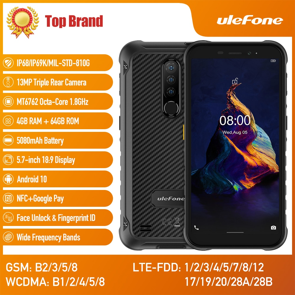 Android10 IP68 وعرة مقاوم للماء الهاتف الذكي 5.7 بوصة هاتف محمول 4GB 64GB NFC 4G LTE الهاتف المحمول ثماني النواة Ulefone درع X8