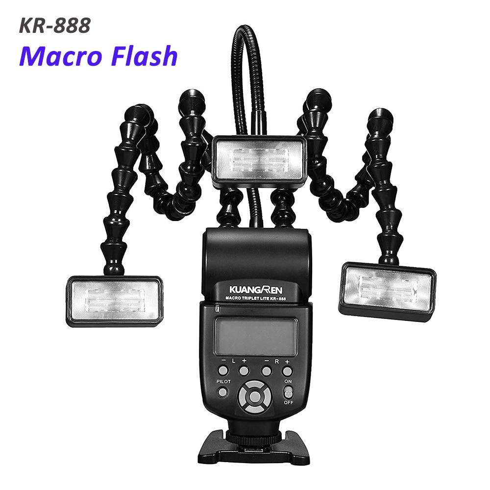 فلاش ماكرو KR888 مع رأس إضاءة ثلاثي, فلاش ماكرو LED لكاميرات كانون نيكون باناسونيك أوليمبوس بنتاكس سوني DSLR
