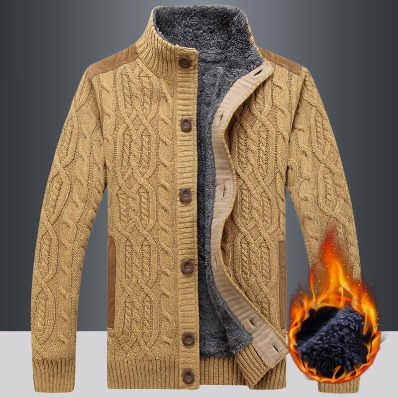 Men Sweater Coat Cardigan Zipper 2021 New Winter Plus Velvet Keep Warm Button Male Thermal Sweater Thick Korean Style M84