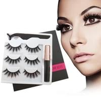 3 pairs magnetic eyelashes 3d mink eyelashes magnetic waterproof eyeliner liquid tweezers set lasting thick eyelash makeup tool