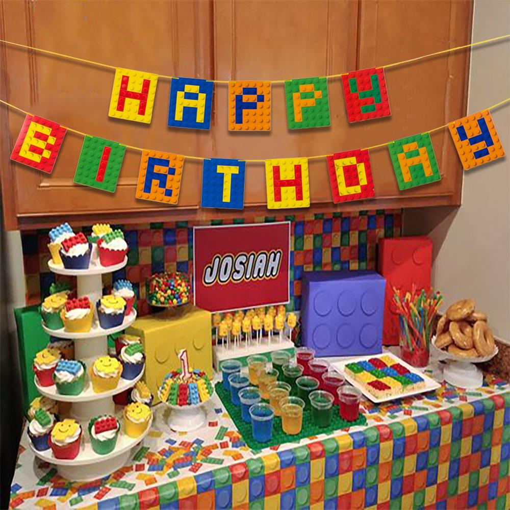 Happy Birthday Banner Colorful Bunting Garland Build Blocks Party Decorations Boy Kids Baby Shower Supply Building Brick Theme