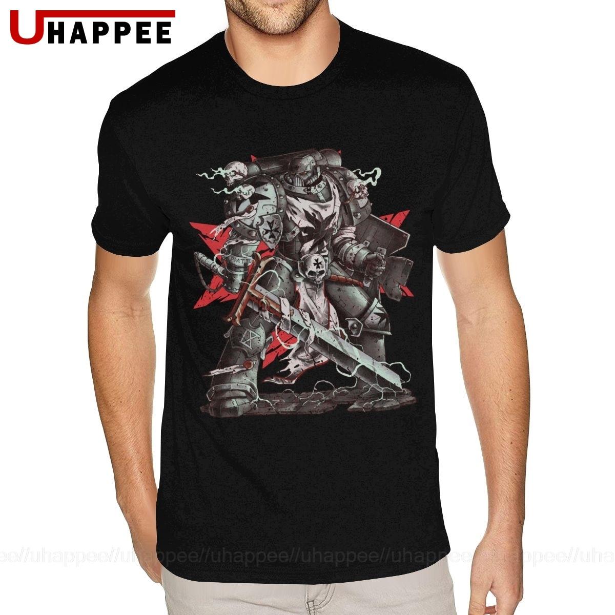 Camiseta de manga corta con cuello redondo y manga corta para hombre, de estilo europeo, de calidad negra, templarios, Warhammer, divertida camiseta 80s