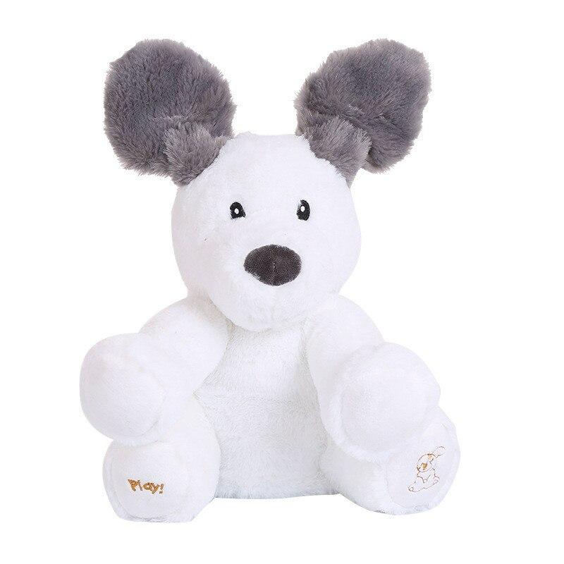 Peek a Boo juguetes para perros que cantan jugar al escondite adorable caricatura rellena niños Regalo de Cumpleaños linda música eléctrica perro de peluche juguete 30cm