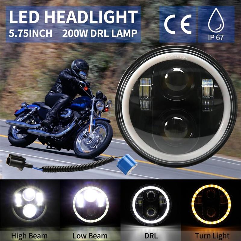 5.75 h4 h4 h4 motocicleta led farol com anel de auréola branco drl anjo olhos para harley davidson/dyna/sportster/patrimônio springer/deuce