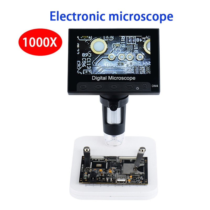 1x 500x digital usb microscope camera otg function true 5 0mp video camera 8led electronic zoom biology magnifier with holder 500X 1000X 1600X USB Electronic Video Microscope Digital 4.3 Inch HD LCD Soldering Microscope Phone Repair Tool  8LED Magnifier