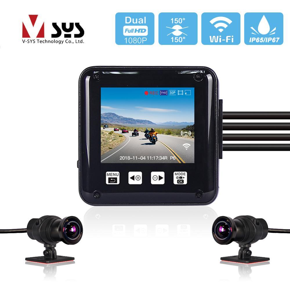 SYS VSYS P6 P6F Wi-Fi видеорегистратор для мотоцикла камера мото регистратор DVR двойной Full HD 1080P 2,0  LCD дисплей всего тела Водонепроницаемый скутер ве...