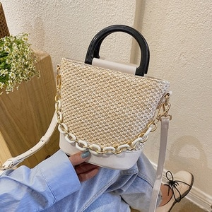 Woven Bag Female Straw Bag Shoulder Messenger Bag Fashion Portable Bucket Bag