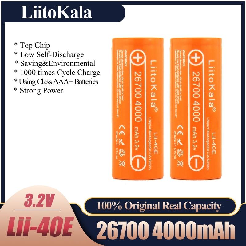 LiitoKala Lii-40E Lifepo4 26700 de 3,2 v 4000mah batería recargable de litio...