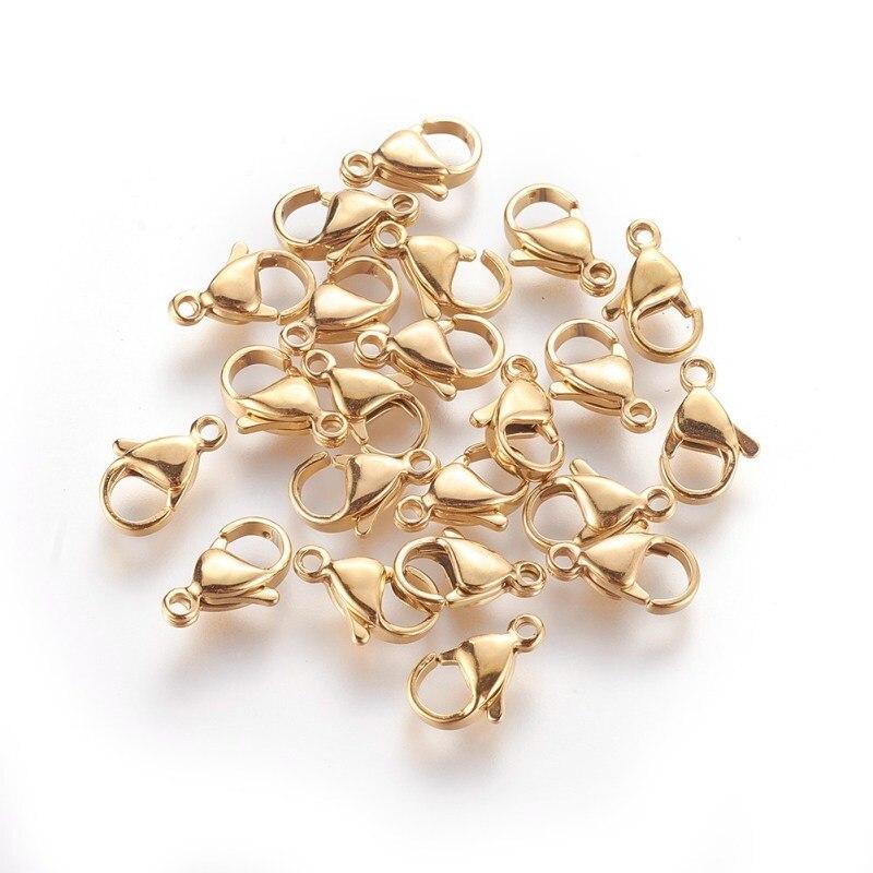 100 Uds., cierres de garra de langosta de acero inoxidable 304 para fabricación de joyería DIY, accesorios de pulsera para collar, Conector de cadena componente