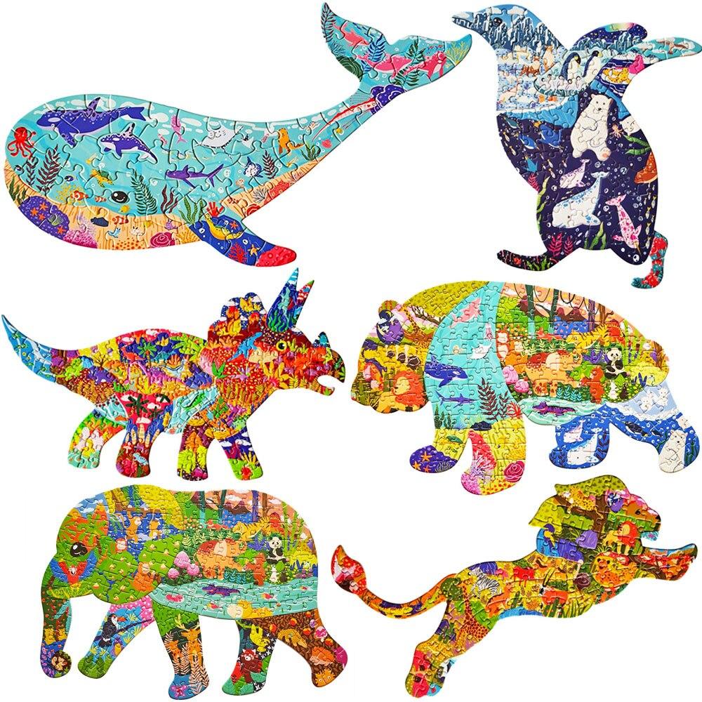 Animal forma quebra-cabeças para adultos baleia pinguim triceratops panda elefante leão quebra-cabeça brinquedos educativos para crianças chão quebra-cabeça presente