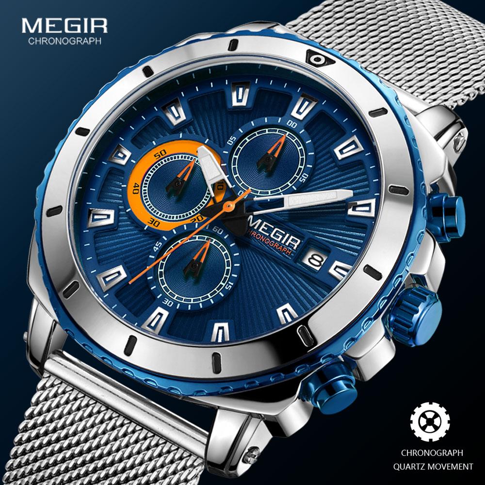 Megir-ساعات كوارتز للرجال ، سوار شبكي فاخر ، ساعة يد رياضية مقاومة للماء ، وجه أزرق ، 2020