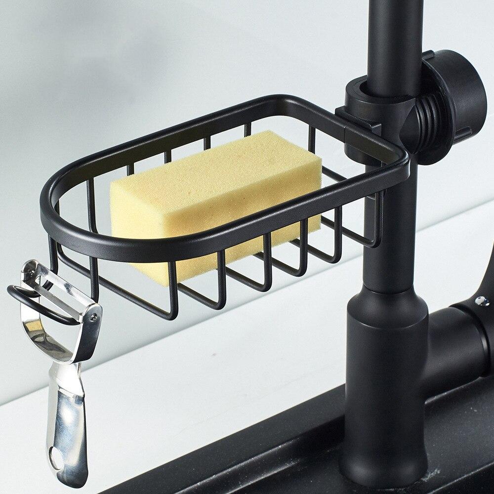 kitchen Bathroom Shelf Black Aluminum Shower Storage Basket Rack Adjustable Faucet Drainage Kitchen Sundries