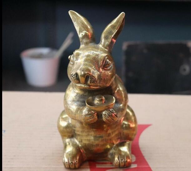 Chino FengShui latón cobre favorable dinero Yuanbao suerte conejo liebre conejo estatua