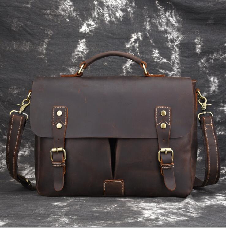 Men Formal Business Briefcase Shoulder Bag Leather Casual Messenger BagGenuine Leather Male Female Crossbody Computer Bag