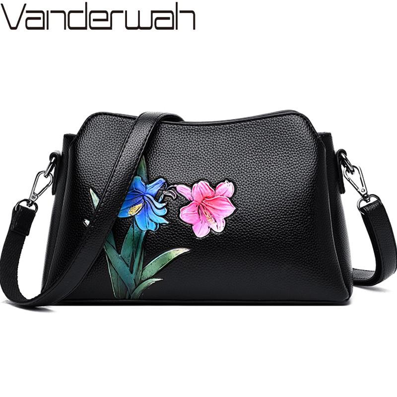 Модные роскошные кожаные сумки с цветами, женские сумки, дизайнерские сумки, высокое качество, цветочный китайский стиль, сумки через плечо ...