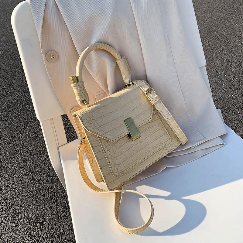 Burminsa Winter Crocodile Pattern Women Shoulder Bags Girls Unique Lock Design Small Handbags High Quality Crossbody Bags 2020