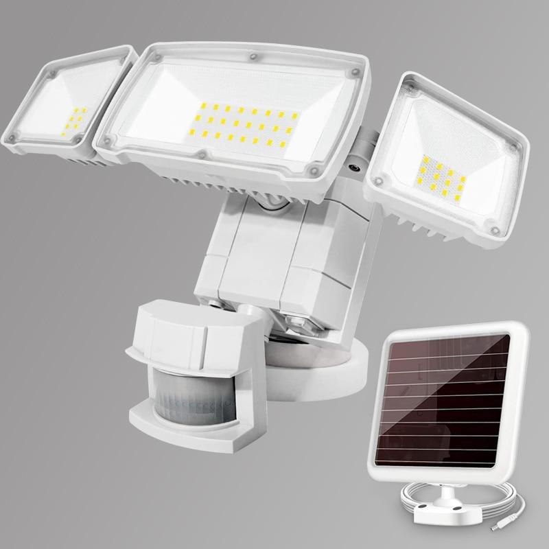1500LM Super Bright LED Solar Security Light Outdoor Motion Sensor Adjustable Sensor Distance Flood Light with 3 Adjustable Head