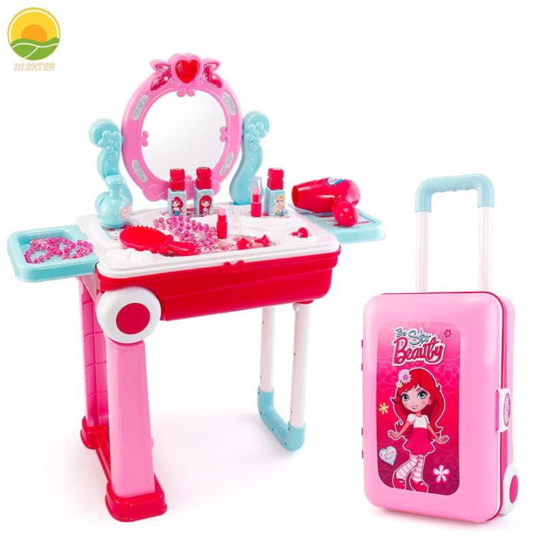 Набор детский для макияжа 19 шт., кольца и помада, ювелирные изделия, косметический бокс, ролевые игры, нетоксичные игрушки для детей