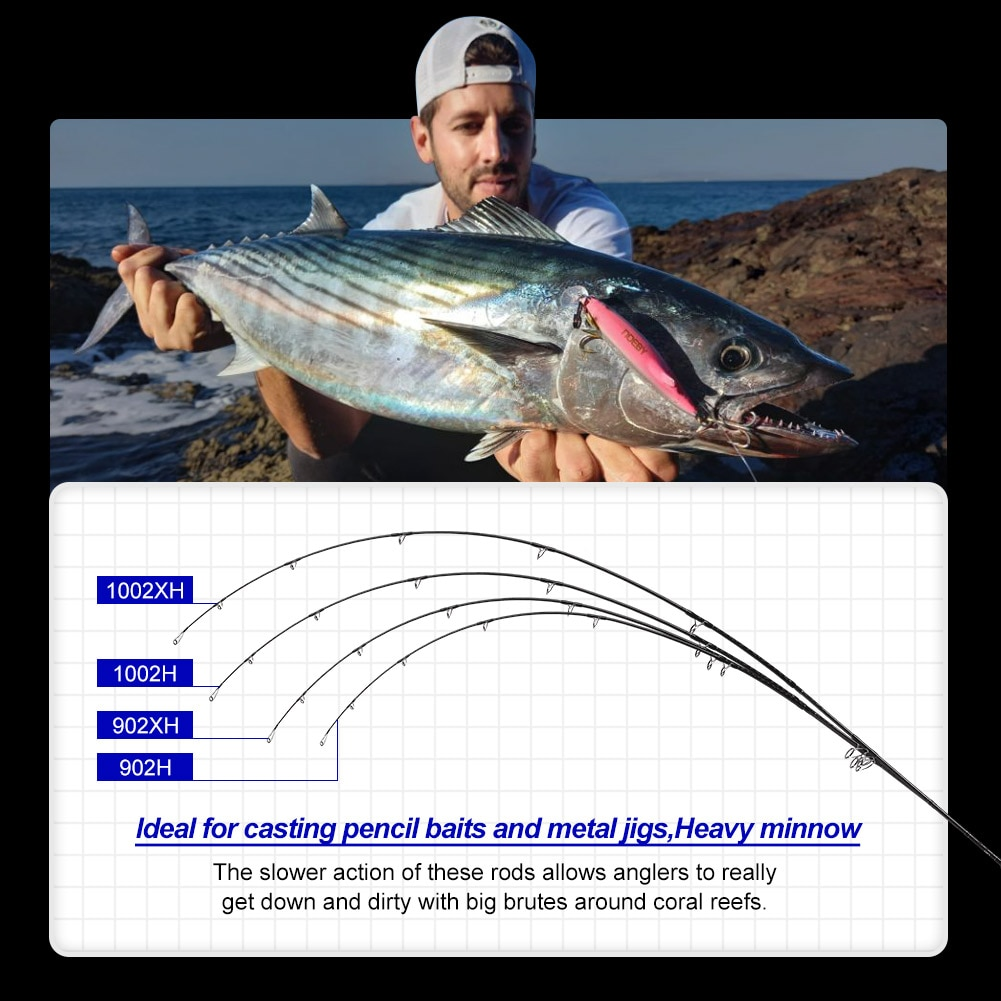 NOEBY Stickbait Surf Spinning Rod 2.75m 3.05m 2 sections H XH HVF Carbon Saltwater Shore Jigging for Blueback Fishing Rod enlarge