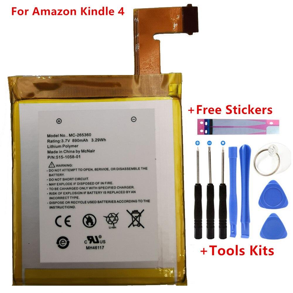Оригинальный аккумулятор 890 мАч для Amazon Kindle 4 5 6 D01100 515-1058-01 MC-265360 S2011-001-S подарочные инструменты + наклейки